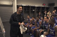 Drake Visits Kentucky Wildcats Locker Room At Final Four